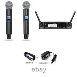 1 to 2 GLXD4 UHF Wireless Karaoke DJ Microphone System Dual Beta Handheld 58 Mic