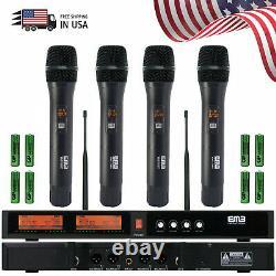 2020 EMB Audio 4 Channel Quad UHF Handheld Wireless Microphone System Mic 6-8 Hr