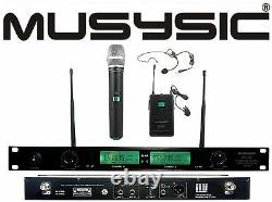2 Channel Dual UHF Wireless Microphone System With Handheld & Lapel / Headset