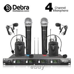 4 Channel 2 Handheld Mic & 2 Lavalier & 2 Headset UHF Wireless Microphone system