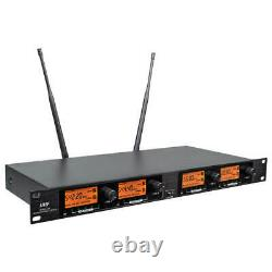 4 Channel Pro Audio UHF Wireless Microphone System 2 Handheld 2 Headset Lavalie