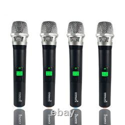 4 Channel Pro Audio UHF Wireless Microphone System Dynamic Handheld Mic Karaoke