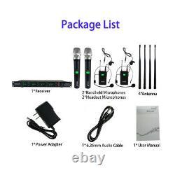 4-Channel UHF Wireless Microphone System 2 Handheld 2 Headset Lavalier KTV Mic