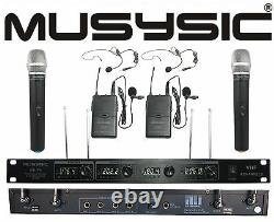 4 Channel VHF Wireless Microphone System 2 Handheld & 2 Lapel / Lavalier Headset