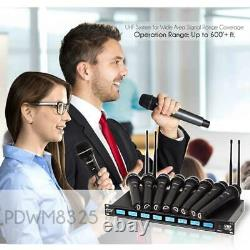 8 Channel Cordless Wireless Handheld MIC Microphone Receiver System Rack Mount