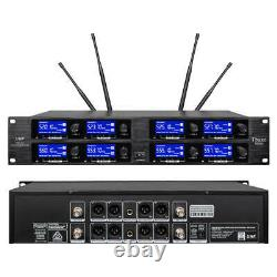 8 Channel UHF Pro Audio Wireless Microphone System 8 Handheld Metal Dynamic Mic
