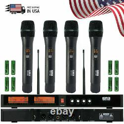 EMIC2500 Audio 4 Channel Quad UHF Handheld Wireless Microphone System Mic 6-8 Hr
