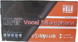 MUSYSIC 8-Channel UHF Handheld Lapel Lavalier Wireless Microphone System MU-U8HL