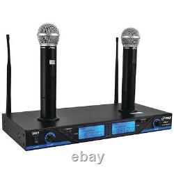 New 2 Channel UHF Handheld 2 Microphone System with Rechargeable Dock LCD Display