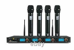 PRORECK MX44 4-Channel UHF Wireless Microphone System with 4 Hand-held Microphon