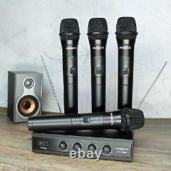 Phenyx Pro PTV-2000 4-Channel VHF Wireless Microphone System 4 Handheld Mics