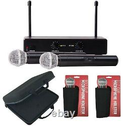 Pro UHF Wireless 2 Channel Dual Handheld Microphone System Karaoke Party Mic
