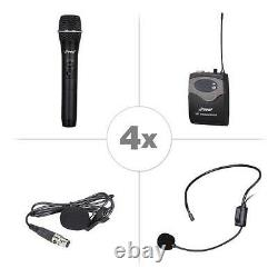 Pyle 8-Ch. Wireless Microphone System UHF Receiver Kit 4 Headset & Handheld Mics