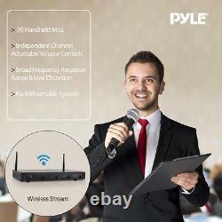 Pyle PDWM4520 4 Channel UHF Wireless Microphone System 4 Handheld Mics