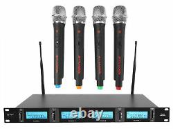 Rockville RWM4401UH QUAD UHF 4 Wireless HandHeld Microphone System withLCD Display