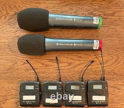 Sennheiser 4-way radio mic system, 4 belt pack & 2 handheld transmitters