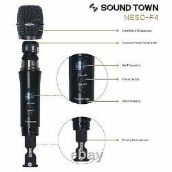 Sound Town 4 Channels UHF Wireless Mountable Metal Microphone Handheld NESO-F4HH