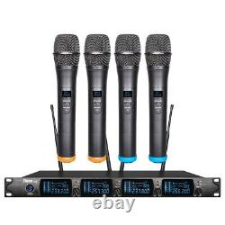 Tbaxo Audio VHF 4 Channel Wireless Microphone System 4 Handheld Microphone KTV