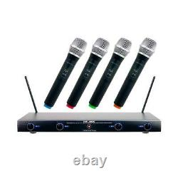 VocoPro VHF-4005 4 Channel Rechargeable VHF Wireless Mic System, 4x Mics, CH 1