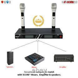 Wireless Microphone Dual Handheld 2 x Mic Cordless Receiver 5Core WM4102