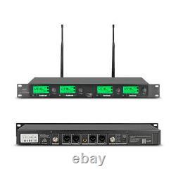 Wireless Microphone System 4 Channel 4 Handheld Metal Mic Pro Audio UHF Karaoke