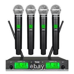 Wireless Microphone System 4 Channel Pro Audio UHF 4 Handheld Mic Karaok school