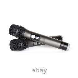 Wireless Microphone System 4 Handheld Metal Mic Pro Audio UHF Karaoke 4 Channel