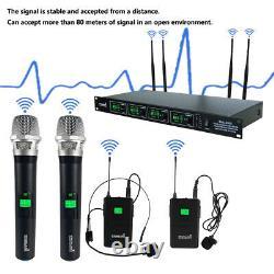 Wireless Microphone System Dynamic 4 Channel Handheld Mic Karaoke Pro Audio UHF