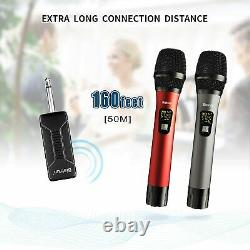 Wireless Microphone, UHF Wireless Dual Handheld Dynamic Mic System Set with Rech