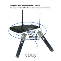 Wireless UHF Microphone System 2-Channel Handheld Audio Mic Adjustable Frequency