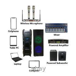15 5000w Powered Pa Active Rgb Led Light Speaker 2ch Vhf Handheld Wireless MIC