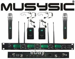 4 Channel Uhf Wireless Microphone System 2 Portable & 2 Revers / Casque Lavalier