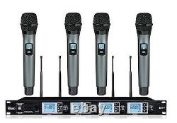 4x100 Channel Professional 4-channel Uhf Wireless Handheld Microphone System