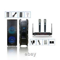 5000w 15 Active Audio Usb Bt Powered Pa Speaker 2ch Handheld Uhf Wireless MIC