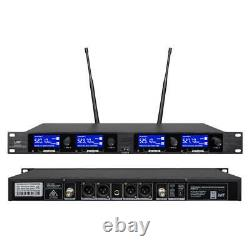 Audio Wireless Microphone System 4 Channel Pro Uhf 2 Portable 2 Casque Lavalier