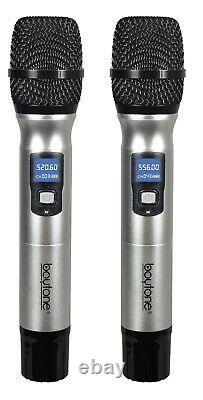Boytone Bt-48um Uhf Sans Fil Double Système De Microphone Professionnel Portatif 100 Ch