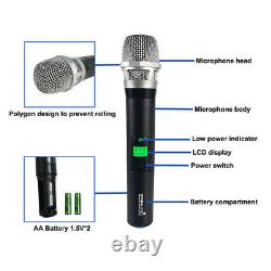 Microphone Portable Sans Fil 4 Canaux Uhf Stage Church Karaoke MIC Club