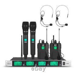 Microphone Sans Fil 4 Canaux 2 Portable 2 Casque Lavalier Pro Uhf Audio