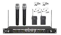 Microphone Sans Fil 4 Canaux Vhf Handheld & Lapel Nouveau 380hl
