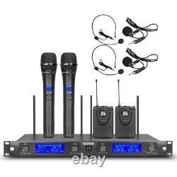 Microphone Sans Fil Audio Pro Uhf 4 Channel 2 Portable 2 Casque 2 Lapel