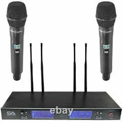 Microphone Sans Fil Uhf 2 Canaux Avec 2 Microphones Sans Fil Portatifs