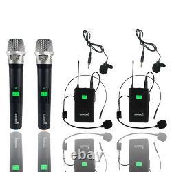 Microphone Sans Fil Uhf 4 Canaux 2 Portable 2 Casque Lavalier Ktv MIC