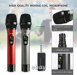 Microphone Sans Fil, Uhf Sans Fil Double Système De Microphone Dynamique Portable Avec Rech
