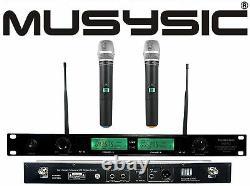 Musysic 2 Channel Dual Uhf Handheld Wireless Microphone System Dj Pa Karaoke