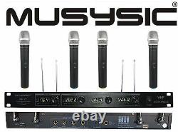 Musysic Professional 4 Canaux Vhf Système De Microphone Sans Fil Portable Mu-v4h