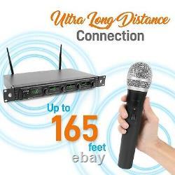 Nouveau Pyle Pdwm4540 Système De Microphone Sans Fil Uhf Lavalier Et Casques