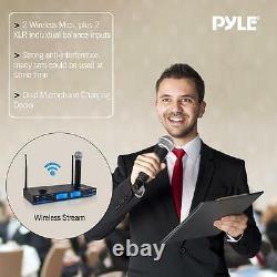 Nouveau Système De Microphone 2 Canaux Uhf Handheld 2 Avec Écran LCD Rechargeable Dock