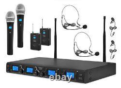 Nouveau Système De Microphones Sans Fil Uhf Pdwm4350u Pyle