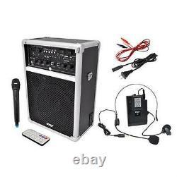 Nouveau Système Pa Sans Fil Pyle 400w Avecusb Sd Mp3 Fm Radio 1 Lavalier 1 MIC Portatif