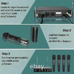 Phenyx Pro Ptv-2000 Système De Microphone Sans Fil Vhf À 4 Canaux 4 Micros Portatifs